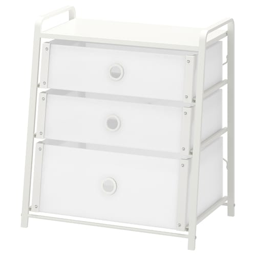 LOTE خزانة بـ 3 أدراج أبيض 55 سم 36 سم 62 سم