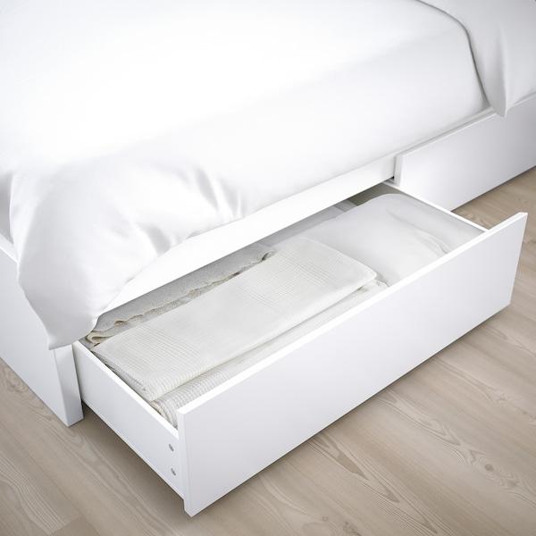 MALM هيكل سرير، عالي مع 4 صناديق تخزين أبيض/Leirsund