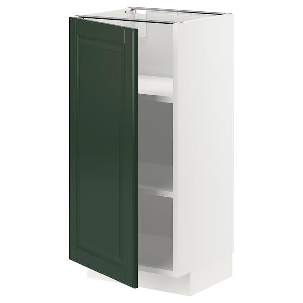 METOD خزانة قاعدة مع أرفف أبيض/Bodbyn أخضر غامق 40.0 سم 39.5 سم 88.0 سم 37.0 سم 80.0 سم