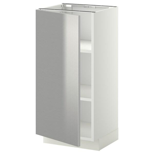 METOD خزانة قاعدة مع أرفف أبيض/Grevsta ستينلس ستيل 40.0 سم 39.4 سم 88.0 سم 37.0 سم 80.0 سم
