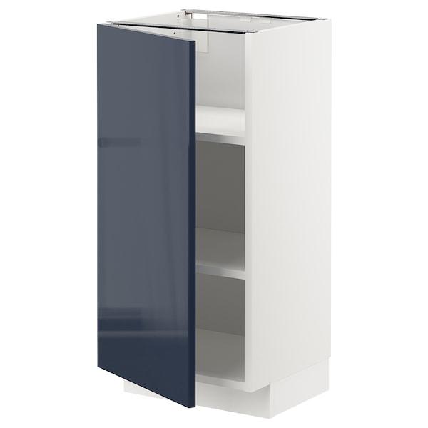 METOD خزانة قاعدة مع أرفف أبيض/Järsta أسود-أزرق 40.0 سم 39.3 سم 88.0 سم 37.0 سم 80.0 سم