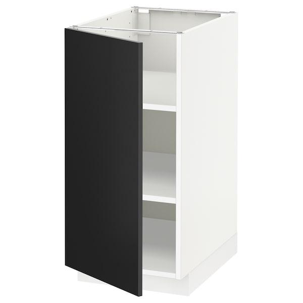 METOD خزانة قاعدة مع أرفف أبيض/Uddevalla فحمي 40.0 سم 61.7 سم 88.0 سم 60.0 سم 80.0 سم