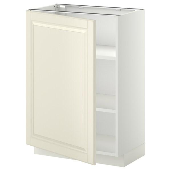 METOD خزانة قاعدة مع أرفف أبيض/Bodbyn أبيض-مطفي 60.0 سم 39.5 سم 88.0 سم 37.0 سم 80.0 سم