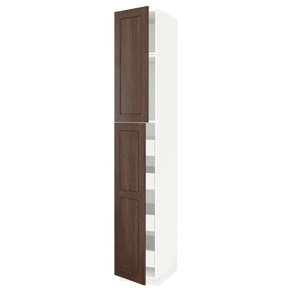 METOD / FÖRVARA خزانة عالية مع بابين/4 أدراج أبيض/Edserum بني 40.0 سم 61.8 سم 248.0 سم 60.0 سم 240.0 سم