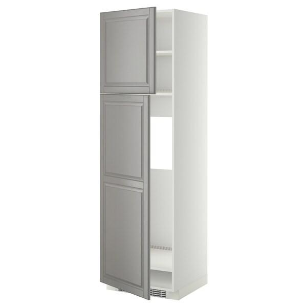 METOD خزانة عالية لثلاجة مع بابين أبيض/Bodbyn رمادي 60.0 سم 61.9 سم 208.0 سم 60.0 سم 200.0 سم