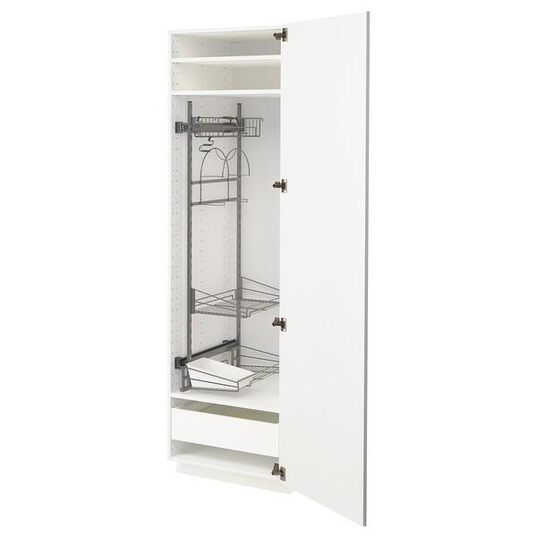 METOD / MAXIMERA خزانة مرتفعة مع أرفف مواد نظافة