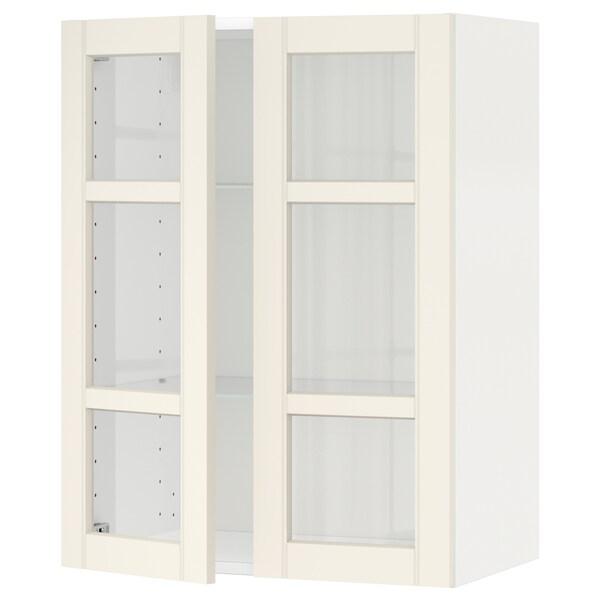 METOD خزانة حائط مع أرفف/بابين زجاجية أبيض/Hittarp أبيض-مطفي 60.0 سم 38.8 سم 80.0 سم