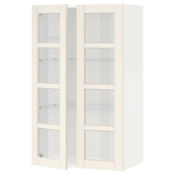 METOD خزانة حائط مع أرفف/بابين زجاجية أبيض/Hittarp أبيض-مطفي 60.0 سم 38.8 سم 100.0 سم