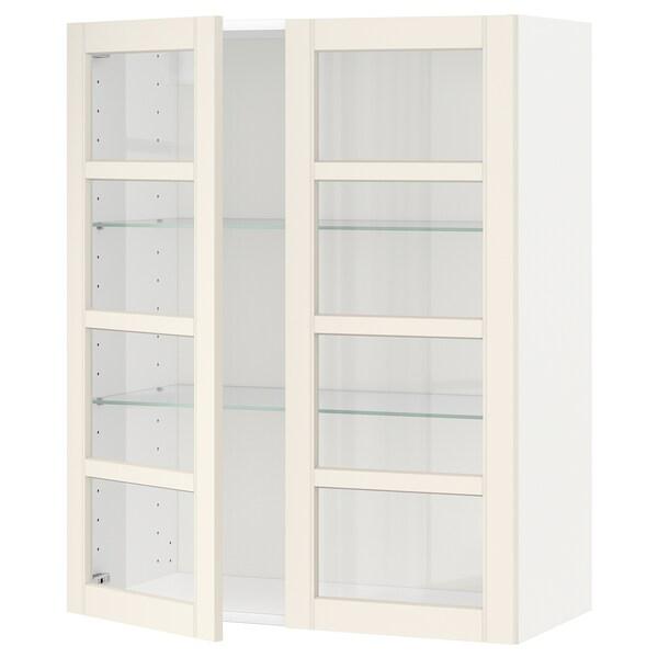 METOD خزانة حائط مع أرفف/بابين زجاجية أبيض/Hittarp أبيض-مطفي 80.0 سم 38.8 سم 100.0 سم