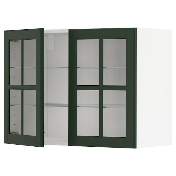 METOD خزانة حائط مع أرفف/بابين زجاجية أبيض/Bodbyn أخضر غامق 80.0 سم 38.9 سم 60.0 سم