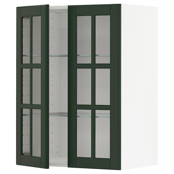 METOD خزانة حائط مع أرفف/بابين زجاجية أبيض/Bodbyn أخضر غامق 60.0 سم 38.6 سم 80.0 سم