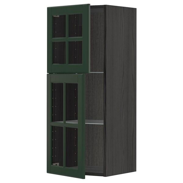 METOD خزانة حائط مع أرفف/بابين زجاجية أسود/Bodbyn أخضر غامق 40.0 سم 38.9 سم 100.0 سم