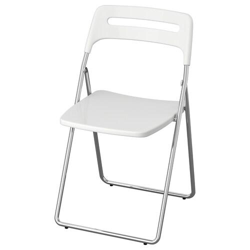NISSE كرسي قابل للطي لامع أبيض/طلاء كروم 100 كلغ 45 سم 47 سم 76 سم 39 سم 42 سم 45 سم