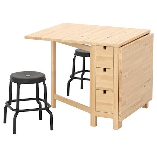 NORDEN / RÅSKOG طاولة ومقعدين بتولا/أسود 89 سم 152 سم