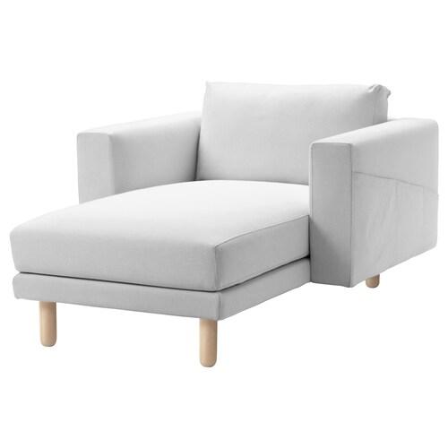 NORSBORG أريكة طويلة Finnsta أبيض/بتولا 110 سم 157 سم 85 سم 129 سم 43 سم