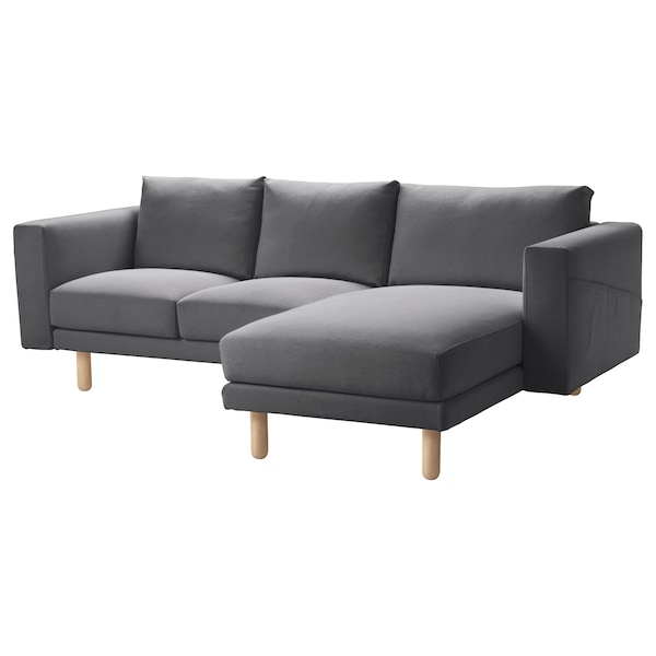 NORSBORG غطاء كنبة ثلاث مقاعد مع أريكة طويلة/Finnsta رمادي غامق
