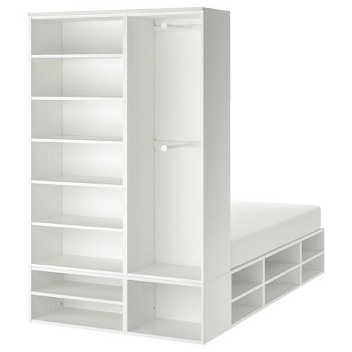 PLATSA هيكل سرير مع تخزين أبيض 40 سم 243.9 سم 140.1 سم 43 سم 222.6 سم 200 سم 140 سم