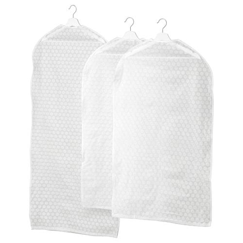 PLURING غطاء ملابس، طقم من 3. أبيض شفاف
