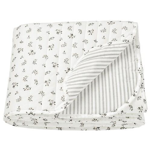 SANDLUPIN غطاء سرير أبيض/رمادي 250 سم 160 سم