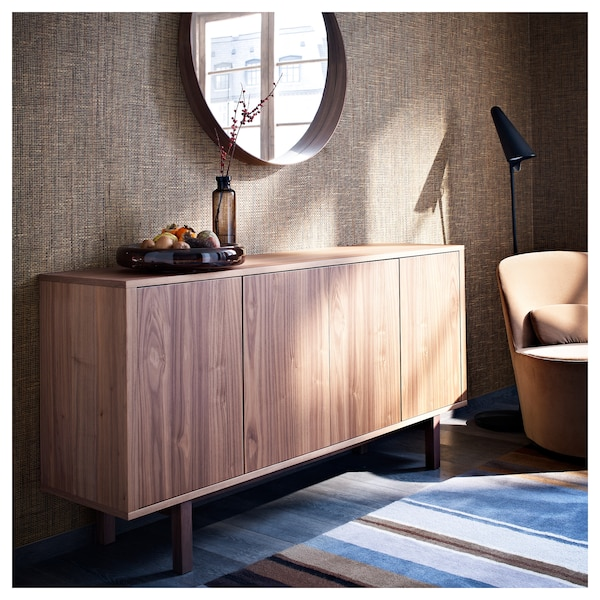STOCKHOLM خزانة جانبية قشرة خشب الجوز 160 سم 40 سم 81 سم 50 كلغ 30 كلغ 6 كلغ