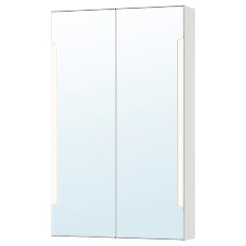 STORJORM خزانة بمرآة 2 باب/إضاءة مدمجة أبيض 60 سم 14 سم 96 سم