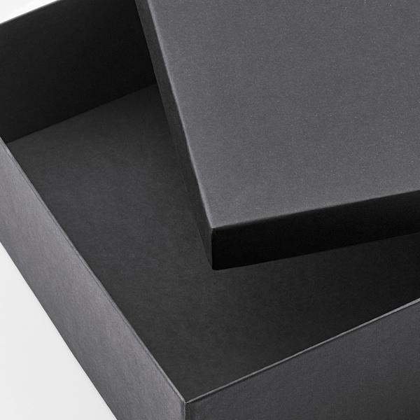 TJENA صندوق تخزين مع غطاء أسود 35 سم 25 سم 10 سم