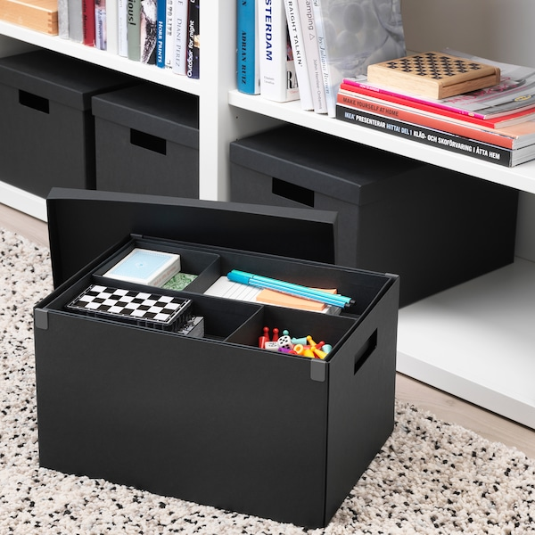 TJENA صندوق تخزين مع غطاء أسود 35 سم 25 سم 20 سم