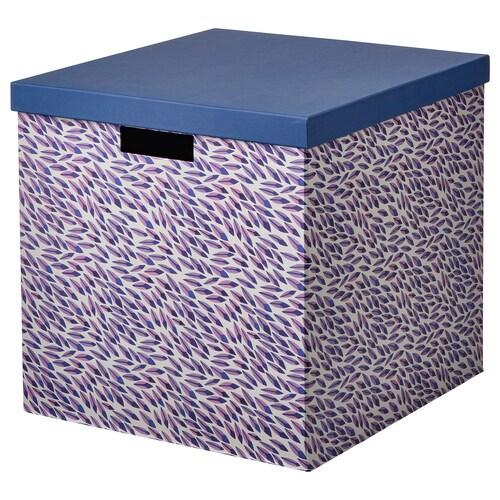 TJENA صندوق تخزين مع غطاء أزرق/بنفسجي/منقّش 35 سم 32 سم 32 سم