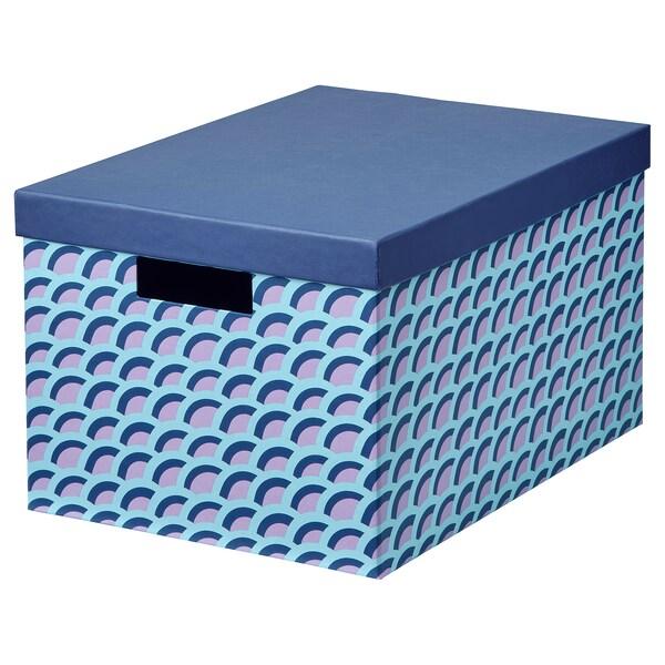 TJENA صندوق تخزين مع غطاء أزرق/متعدد الالوان 35 سم 25 سم 20 سم