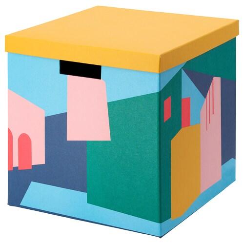 TJENA صندوق تخزين مع غطاء أصفر 30 سم 30 سم 30 سم