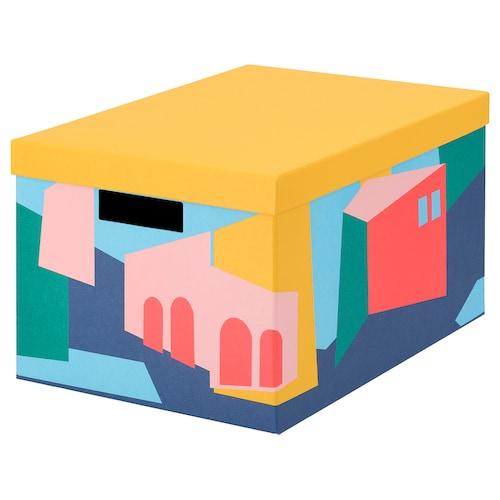 TJENA صندوق تخزين مع غطاء أصفر 35 سم 25 سم 20 سم