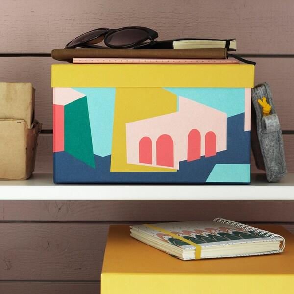 TJENA صندوق تخزين مع غطاء أصفر 25 سم 18 سم 15 سم