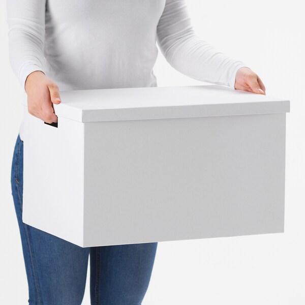 TJENA صندوق تخزين مع غطاء أبيض 50 سم 35 سم 30 سم