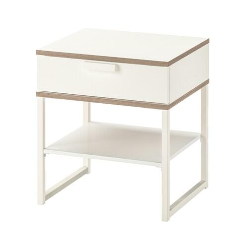 TRYSIL طاولة سرير أبيض/رمادي فاتح 45 سم 40 سم 53 سم