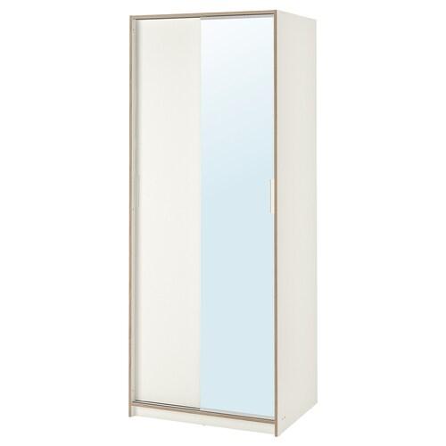 TRYSIL خزانة ملابس أبيض/زجاج مرايا 79 سم 61 سم 202 سم 5.7 سم 20 كلغ