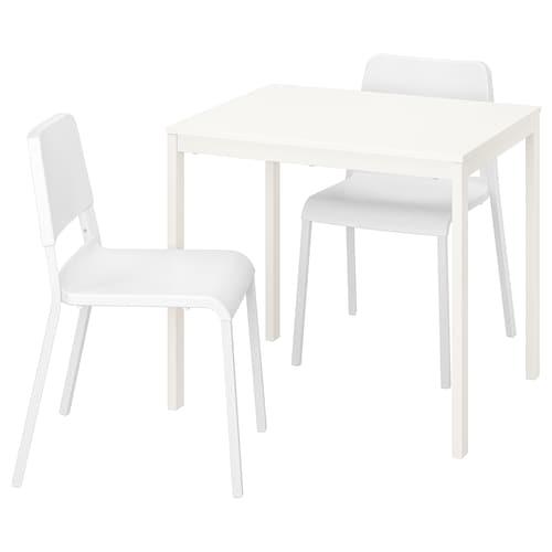 VANGSTA / TEODORES طاولة وكرسيان أبيض/أبيض 80 سم 120 سم