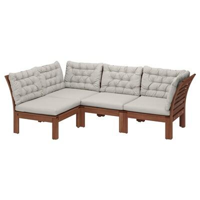 ÄPPLARÖ Modular corner sofa 3-seat, outdoor, brown stained/Kuddarna grey, 143/223x80x80 cm