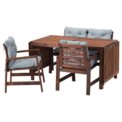 ÄPPLARÖ table+2 chrsw armr+ bench, outdoor brown stained/Ytterön blue