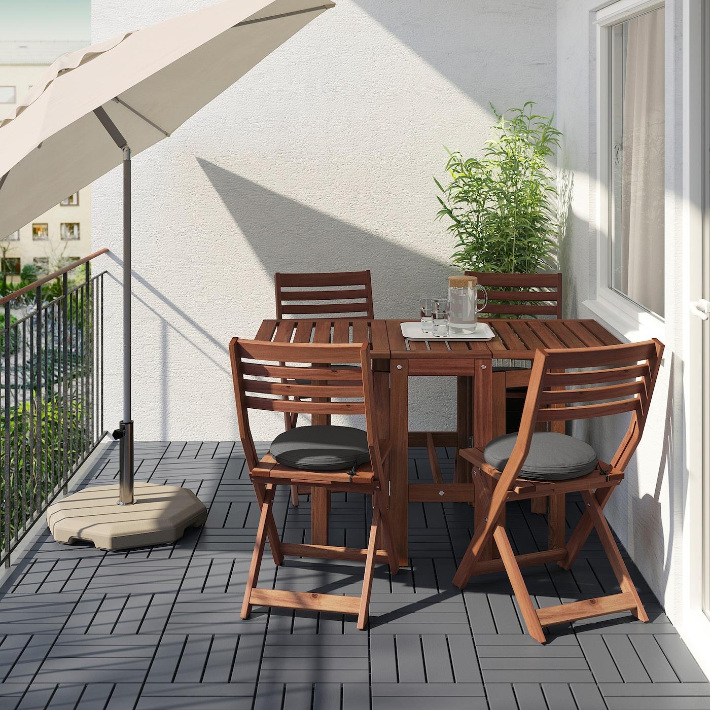 ÄPPLARÖ طاولة+4 كراسي قابلة للطي، خارجية, صباغ بني/Frösön/Duvholmen رمادي غامق