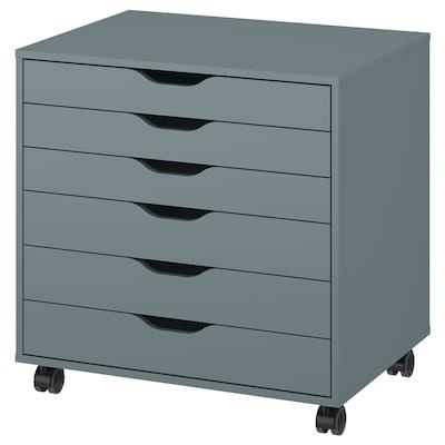 ALEX Drawer unit on castors, grey-turquoise, 67x66 cm