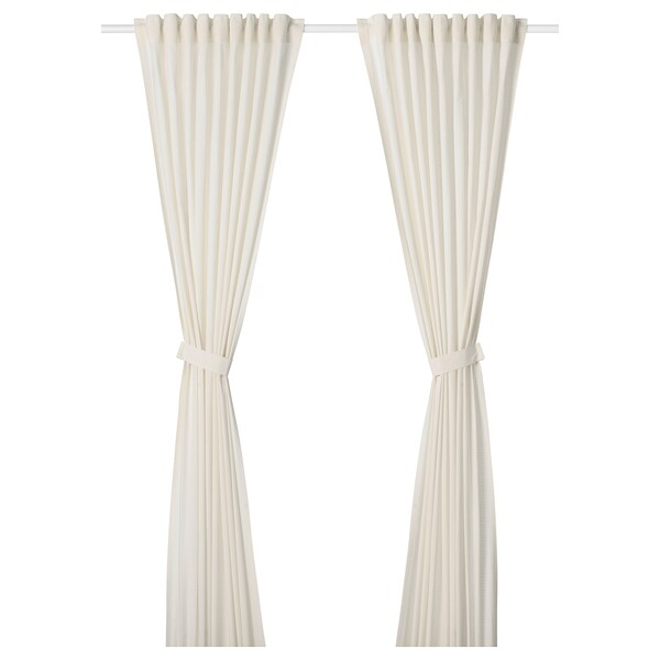 AMILDE Curtains with tie-backs, 1 pair, white, 145x300 cm