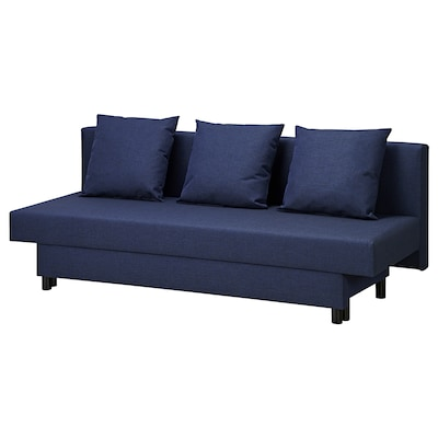 ASARUM 3-seat sofa-bed, dark blue