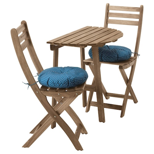 ASKHOLMEN table f wall+2 fold chairs, outdoor grey-brown stained/Ytterön blue