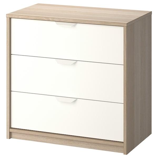 ASKVOLL خزانة بـ 3 أدراج, مظهر سنديان مصبوغ أبيض/أبيض, 70x68 سم