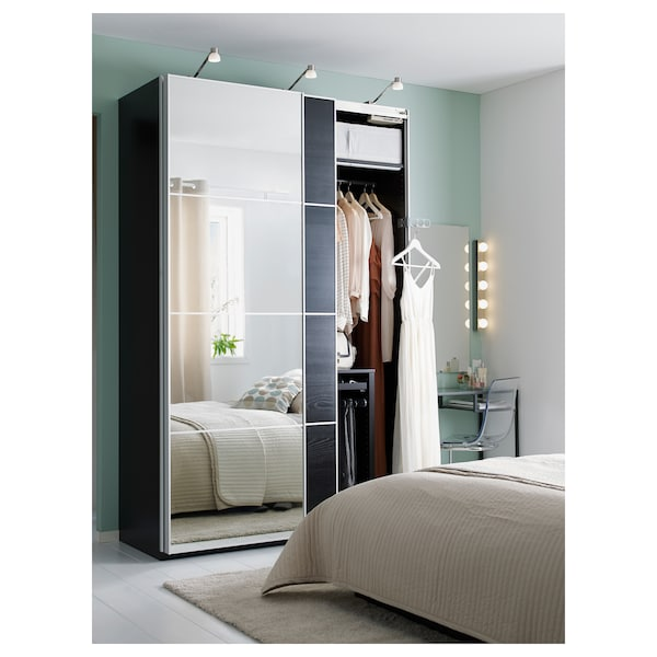 AULI / MEHAMN Pair of sliding doors, mirror glass/black-brown stained ash effect, 200x236 cm