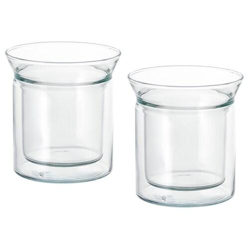 AVRUNDAD mug double-walled/clear glass 12 cm 15 cl 2 pieces