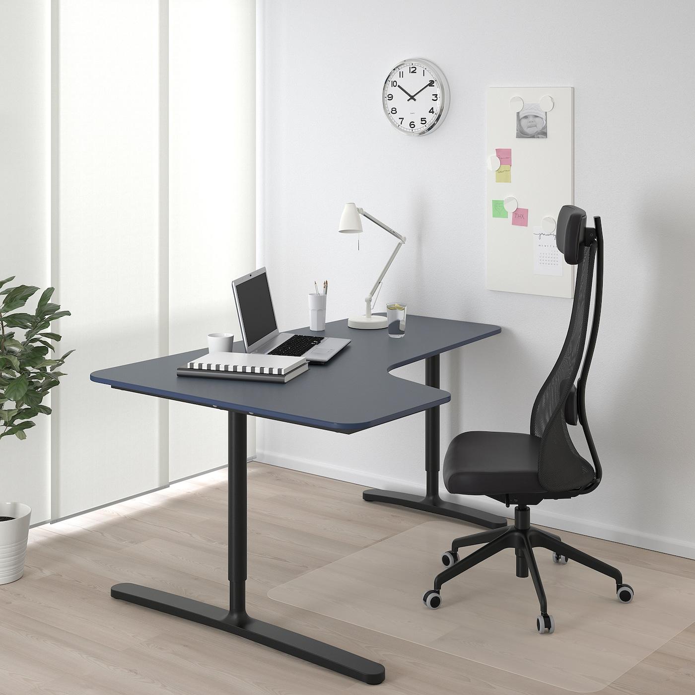 BEKANT Corner desk left, linoleum blue/black, 160x110 cm