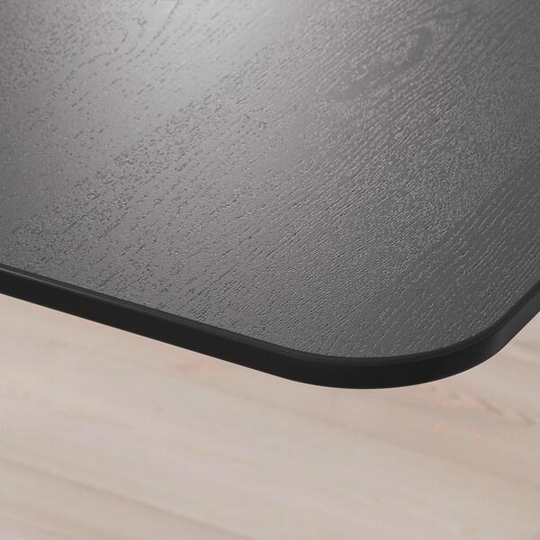 BEKANT Desk, black stained ash veneer/white, 160x80 cm