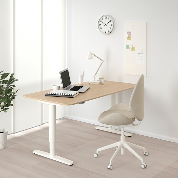 BEKANT Desk sit/stand, white stained oak veneer/white, 160x80 cm