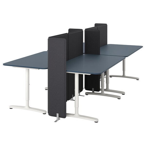 BEKANT desk with screen linoleum blue/white 120 cm 320 cm 160 cm 65 cm 125 cm 70 kg